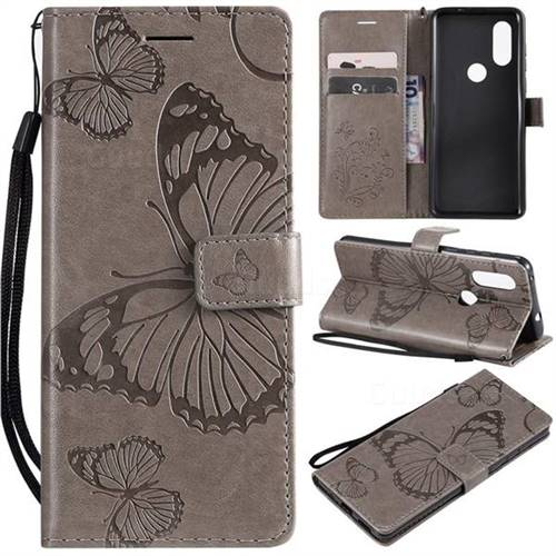 Embossing 3D Butterfly Leather Wallet Case for Motorola Moto P40 - Gray