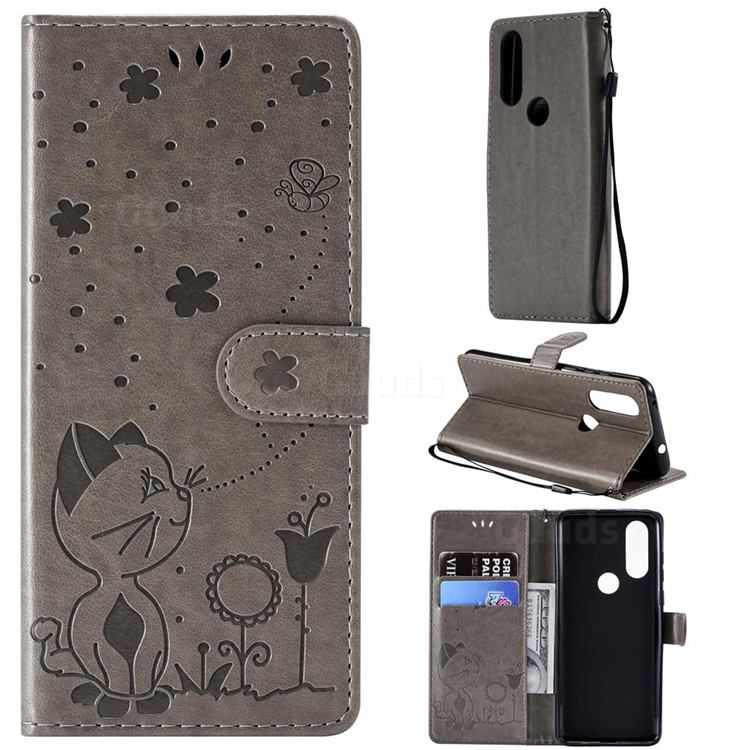 Embossing Bee and Cat Leather Wallet Case for Motorola Moto P40 - Gray