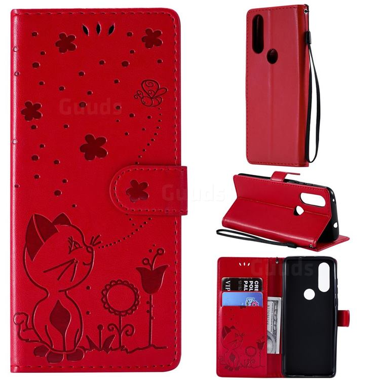Embossing Bee and Cat Leather Wallet Case for Motorola Moto P40 - Red