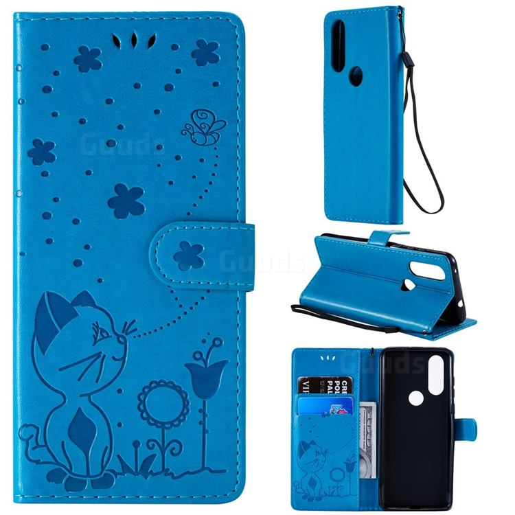 Embossing Bee and Cat Leather Wallet Case for Motorola Moto P40 - Blue
