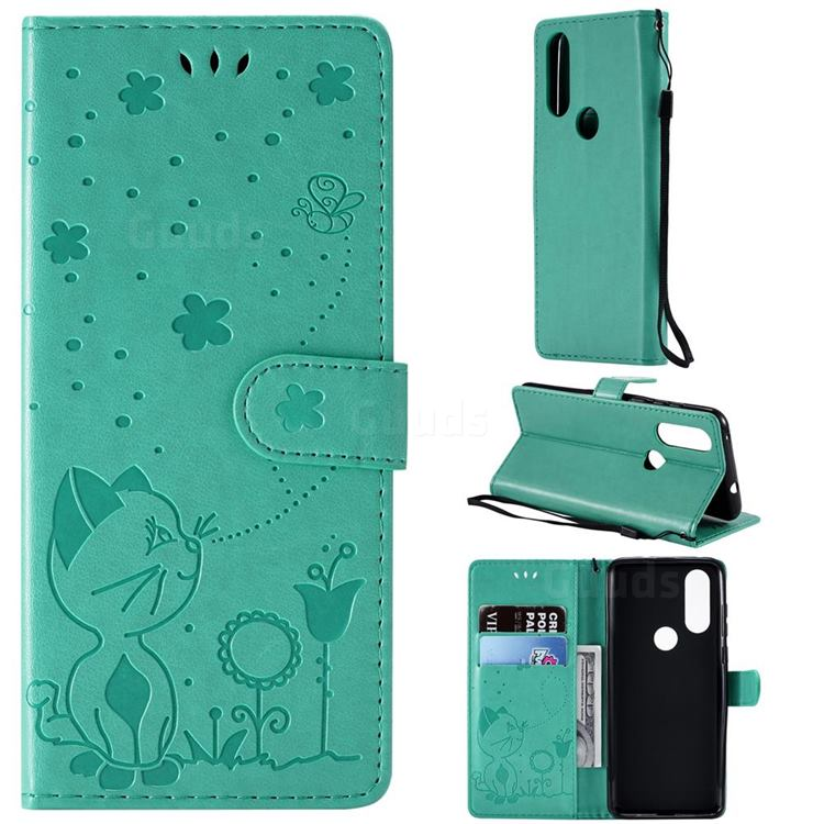 Embossing Bee and Cat Leather Wallet Case for Motorola Moto P40 - Green
