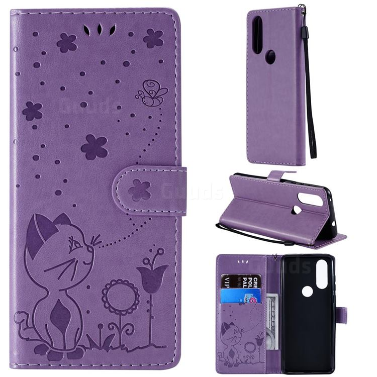 Embossing Bee and Cat Leather Wallet Case for Motorola Moto P40 - Purple