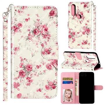 Rambler Rose Flower 3D Leather Phone Holster Wallet Case for Motorola Moto P40 Power