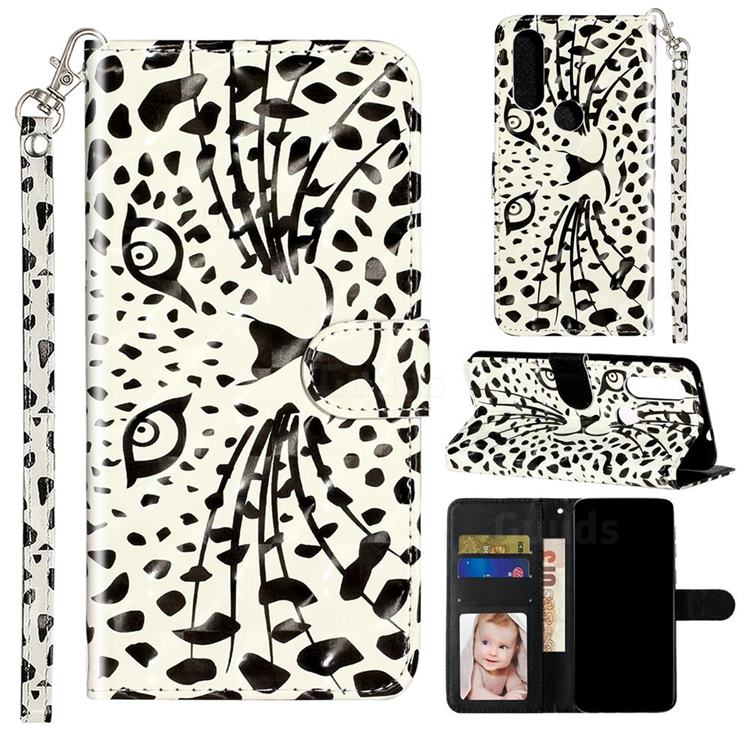 Leopard Panther 3D Leather Phone Holster Wallet Case for Motorola Moto P40 Power