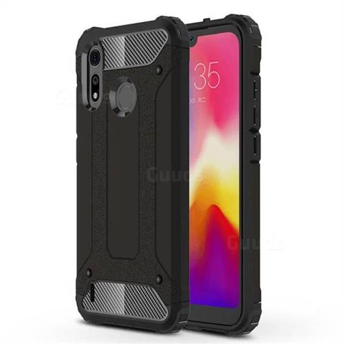 King Kong Armor Premium Shockproof Dual Layer Rugged Hard Cover for Motorola Moto P40 Play - Black Gold