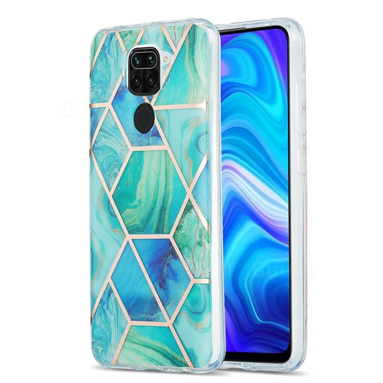 Green Glacier Marble Pattern Galvanized Electroplating Protective Case Cover for Xiaomi Redmi 10X 4G