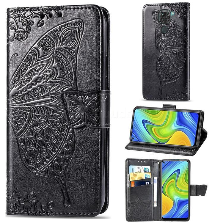 Embossing Mandala Flower Butterfly Leather Wallet Case for Xiaomi Redmi 10X 4G - Black