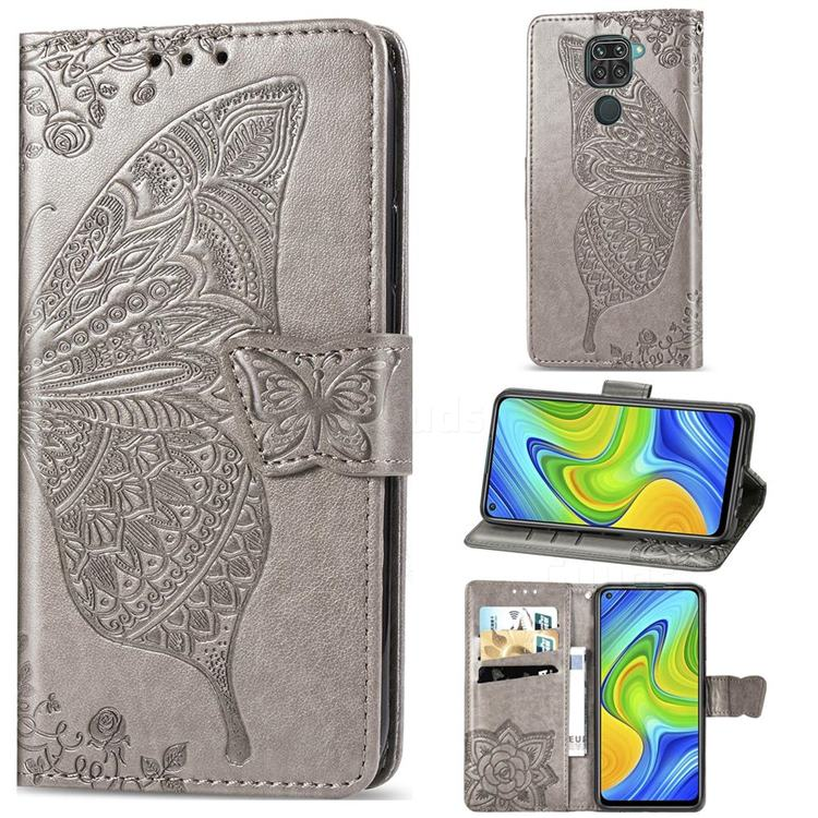 Embossing Mandala Flower Butterfly Leather Wallet Case for Xiaomi Redmi 10X 4G - Gray