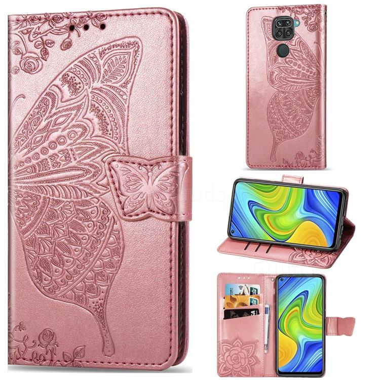 Embossing Mandala Flower Butterfly Leather Wallet Case for Xiaomi Redmi 10X 4G - Rose Gold
