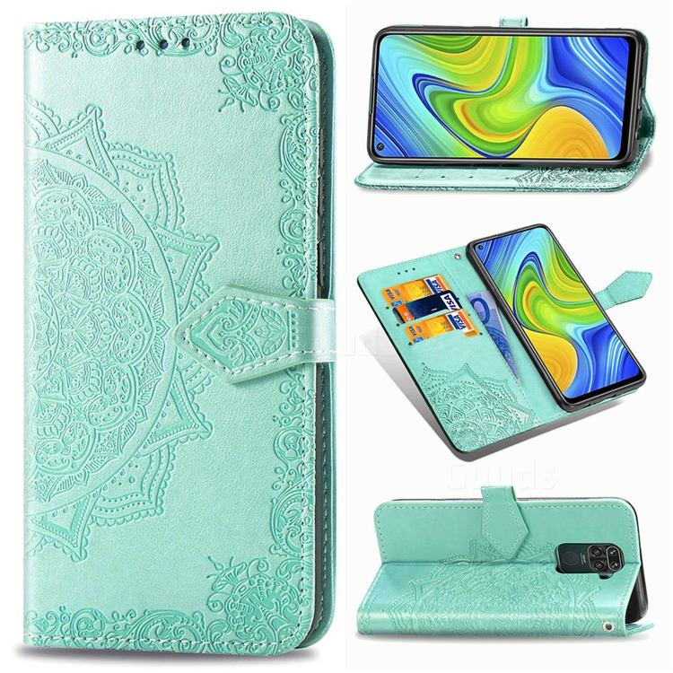 Embossing Imprint Mandala Flower Leather Wallet Case for Xiaomi Redmi 10X 4G - Green