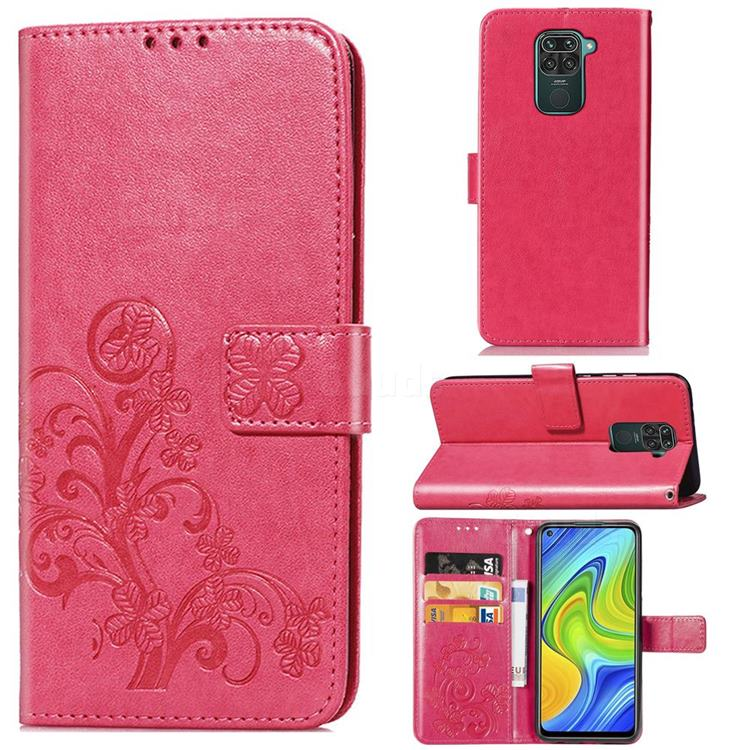Embossing Imprint Four-Leaf Clover Leather Wallet Case for Xiaomi Redmi 10X 4G - Rose Red