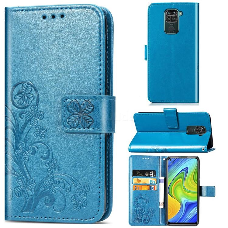 Embossing Imprint Four-Leaf Clover Leather Wallet Case for Xiaomi Redmi 10X 4G - Blue