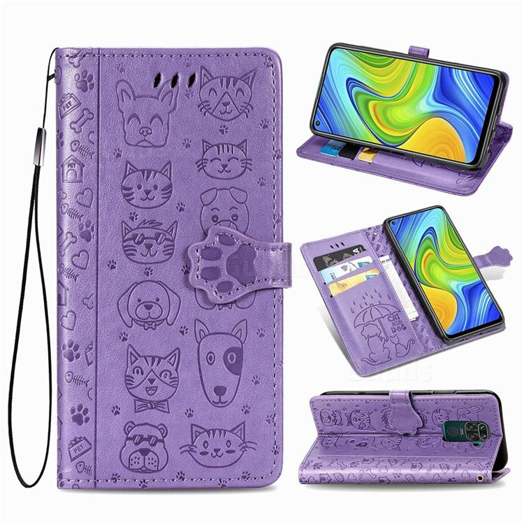 Embossing Dog Paw Kitten and Puppy Leather Wallet Case for Xiaomi Redmi 10X 4G - Purple