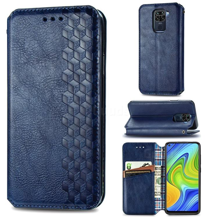 Ultra Slim Fashion Business Card Magnetic Automatic Suction Leather Flip Cover for Xiaomi Redmi 10X 4G - Dark Blue