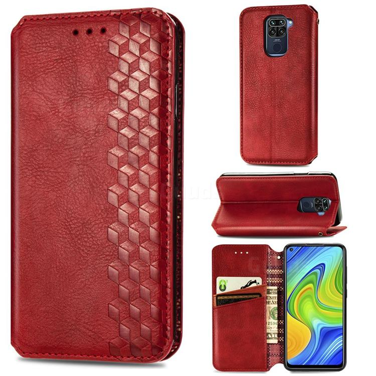 Ultra Slim Fashion Business Card Magnetic Automatic Suction Leather Flip Cover for Xiaomi Redmi 10X 4G - Red