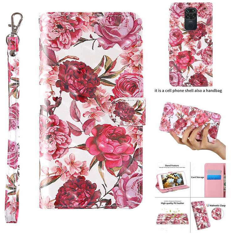 Red Flower 3D Painted Leather Wallet Case for Xiaomi Redmi 10X 4G