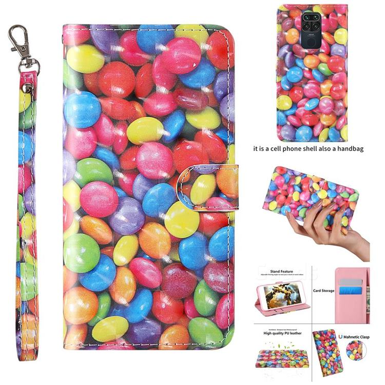Colorful Jelly Beans 3D Painted Leather Wallet Case for Xiaomi Redmi 10X 4G
