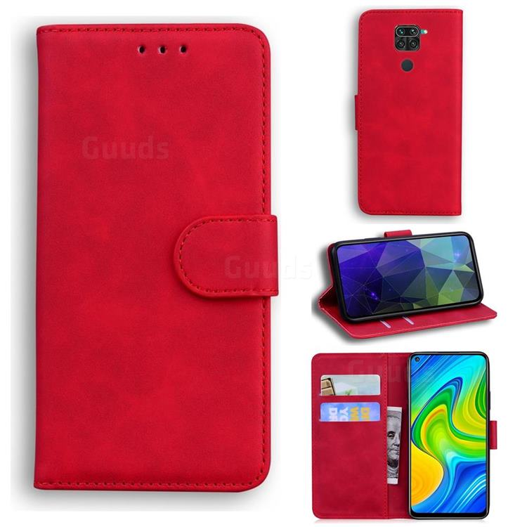 Retro Classic Skin Feel Leather Wallet Phone Case for Xiaomi Redmi 10X 4G - Red