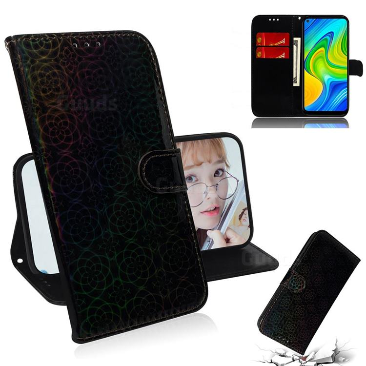 Laser Circle Shining Leather Wallet Phone Case for Xiaomi Redmi 10X 4G - Black