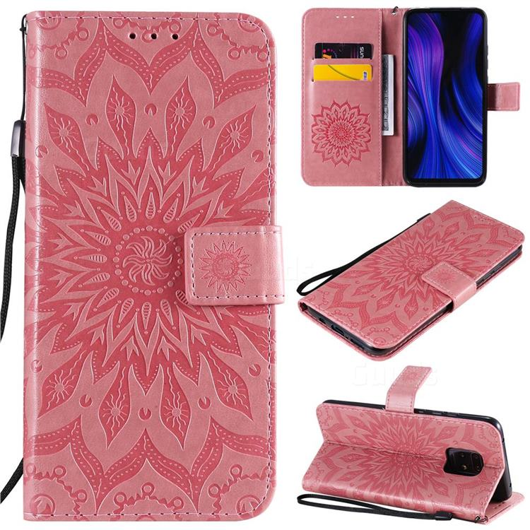 Embossing Sunflower Leather Wallet Case for Xiaomi Redmi 10X 5G - Pink