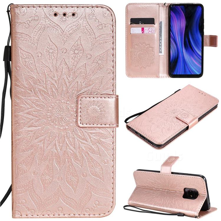 Embossing Sunflower Leather Wallet Case for Xiaomi Redmi 10X 5G - Rose Gold