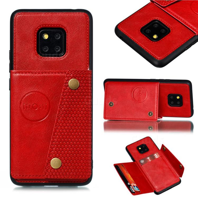 Retro Multifunction Card Slots Stand Leather Coated Phone Back Cover for Xiaomi Redmi 10X 5G - Red