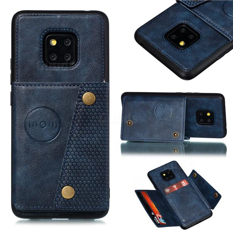 Retro Multifunction Card Slots Stand Leather Coated Phone Back Cover for Xiaomi Redmi 10X 5G - Blue