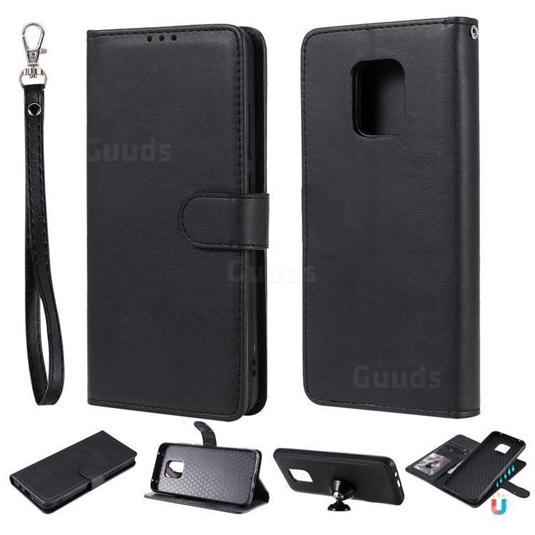 Retro Greek Detachable Magnetic PU Leather Wallet Phone Case for Xiaomi Redmi 10X 5G - Black