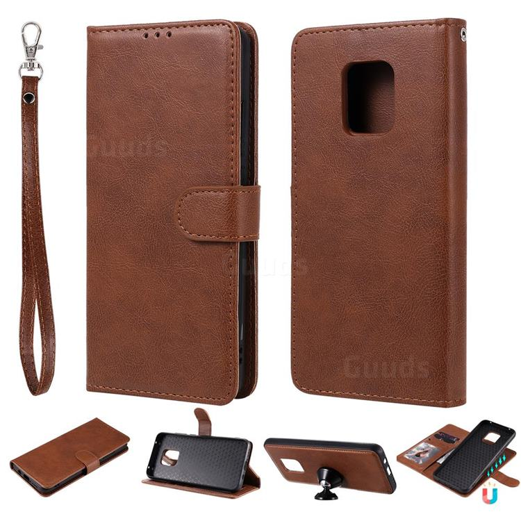 Retro Greek Detachable Magnetic PU Leather Wallet Phone Case for Xiaomi Redmi 10X 5G - Brown