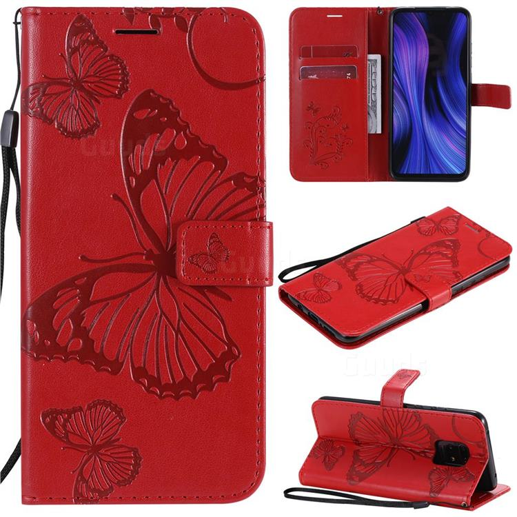 Embossing 3D Butterfly Leather Wallet Case for Xiaomi Redmi 10X 5G - Red