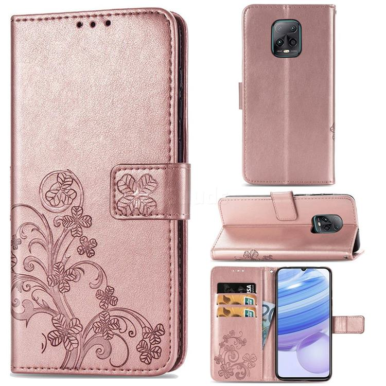Embossing Imprint Four-Leaf Clover Leather Wallet Case for Xiaomi Redmi 10X Pro 5G - Rose Gold