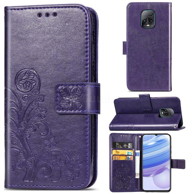 Embossing Imprint Four-Leaf Clover Leather Wallet Case for Xiaomi Redmi 10X Pro 5G - Purple
