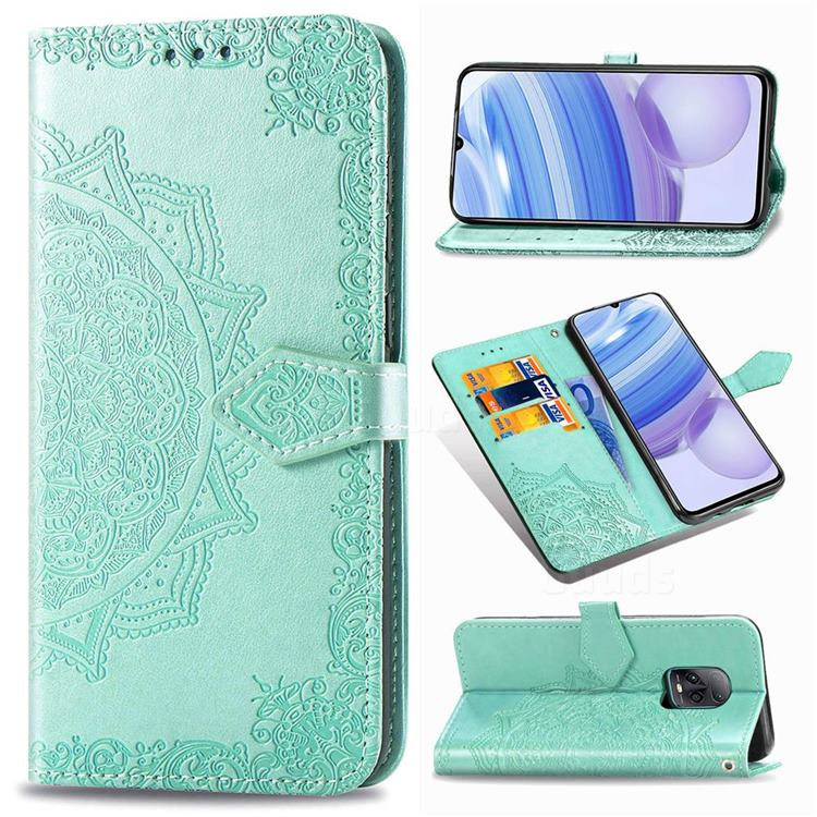 Embossing Imprint Mandala Flower Leather Wallet Case for Xiaomi Redmi 10X Pro 5G - Green