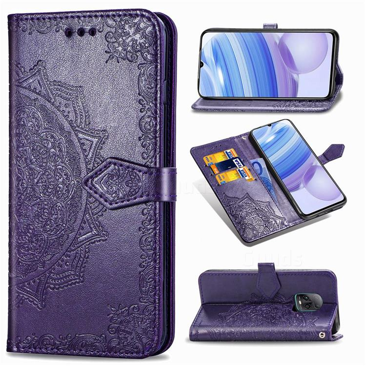 Embossing Imprint Mandala Flower Leather Wallet Case for Xiaomi Redmi 10X Pro 5G - Purple
