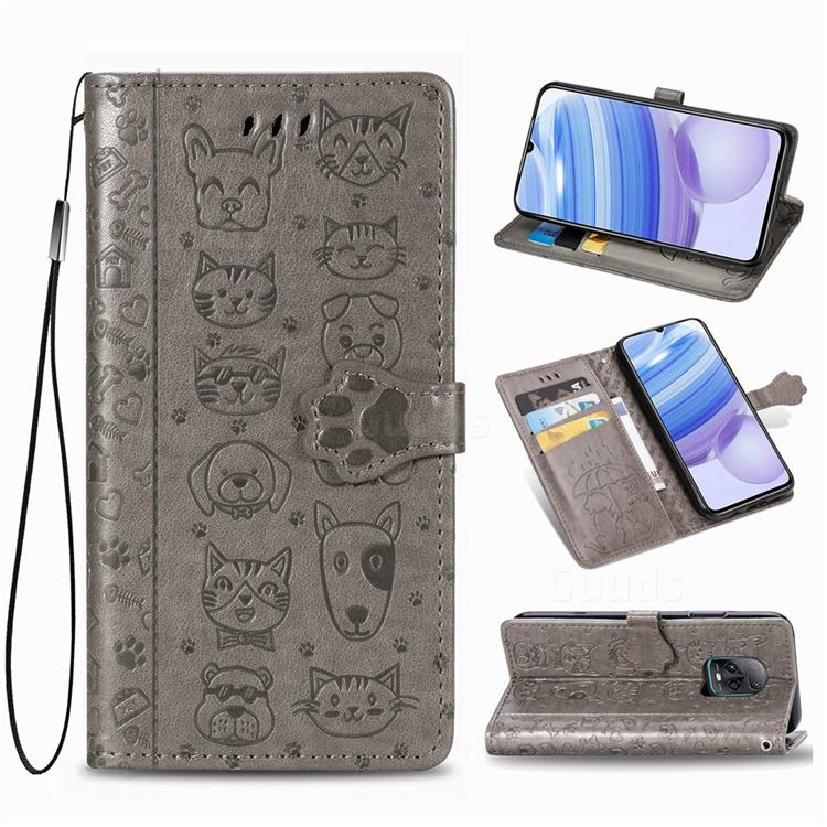 Embossing Dog Paw Kitten and Puppy Leather Wallet Case for Xiaomi Redmi 10X Pro 5G - Gray