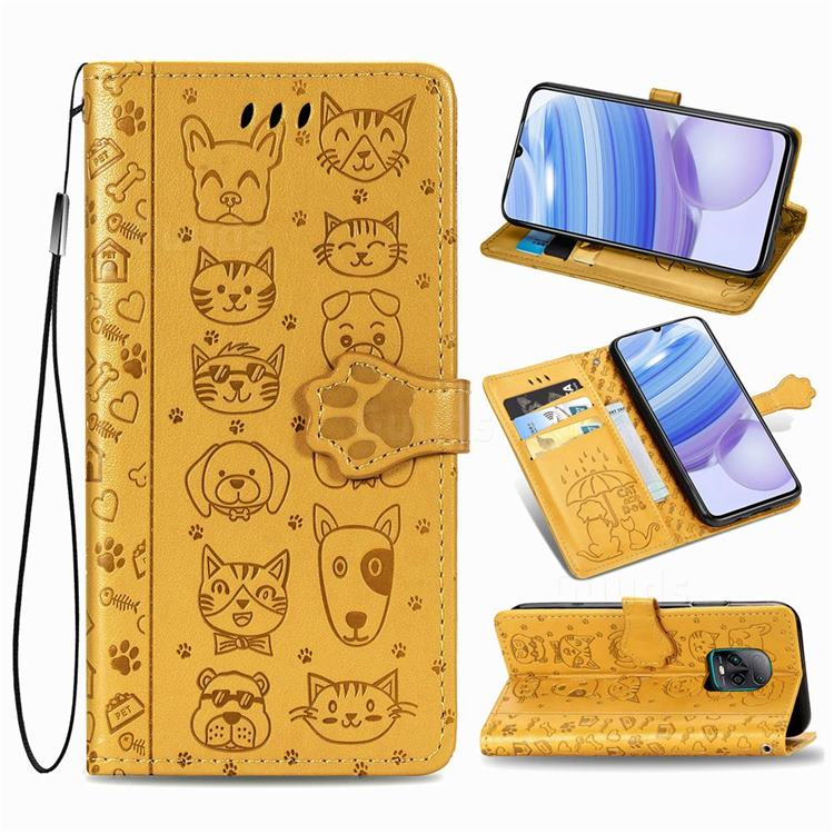 Embossing Dog Paw Kitten and Puppy Leather Wallet Case for Xiaomi Redmi 10X Pro 5G - Yellow