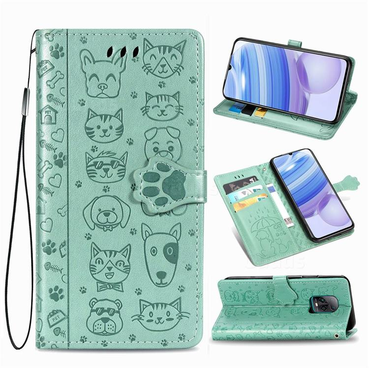 Embossing Dog Paw Kitten and Puppy Leather Wallet Case for Xiaomi Redmi 10X Pro 5G - Green