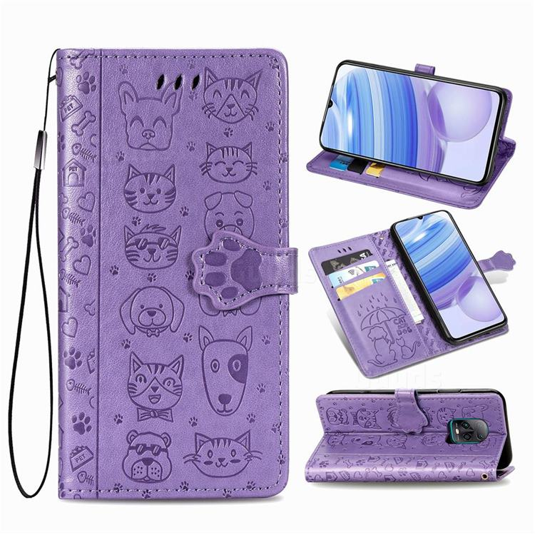 Embossing Dog Paw Kitten and Puppy Leather Wallet Case for Xiaomi Redmi 10X Pro 5G - Purple