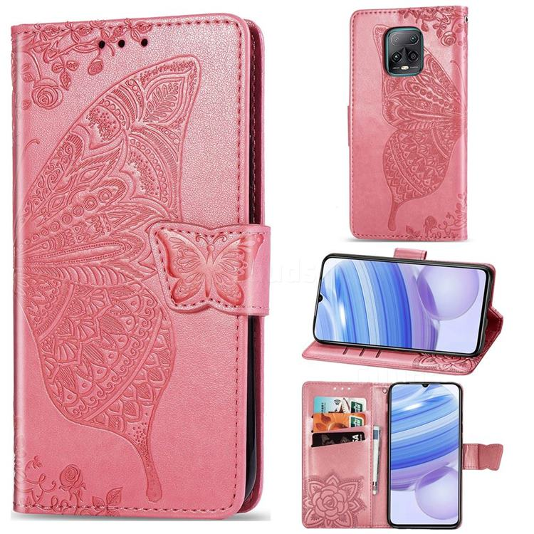 Embossing Mandala Flower Butterfly Leather Wallet Case for Xiaomi Redmi 10X Pro 5G - Pink