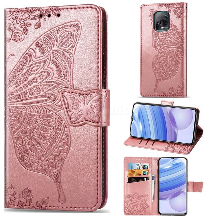 Embossing Mandala Flower Butterfly Leather Wallet Case for Xiaomi Redmi 10X Pro 5G - Rose Gold