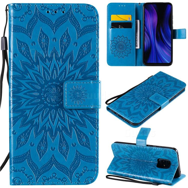 Embossing Sunflower Leather Wallet Case for Xiaomi Redmi 10X Pro 5G - Blue