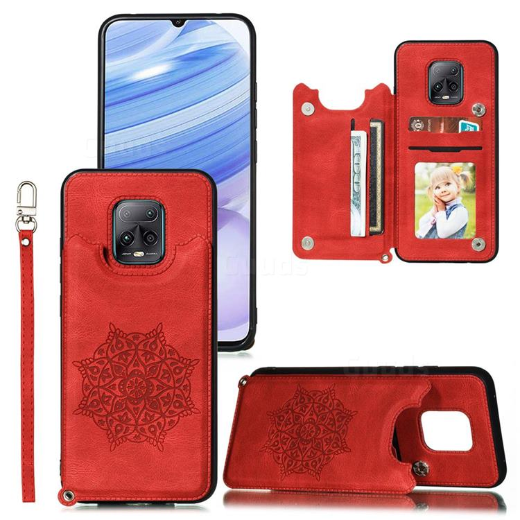 Luxury Mandala Multi-function Magnetic Card Slots Stand Leather Back Cover for Xiaomi Redmi 10X Pro 5G - Red
