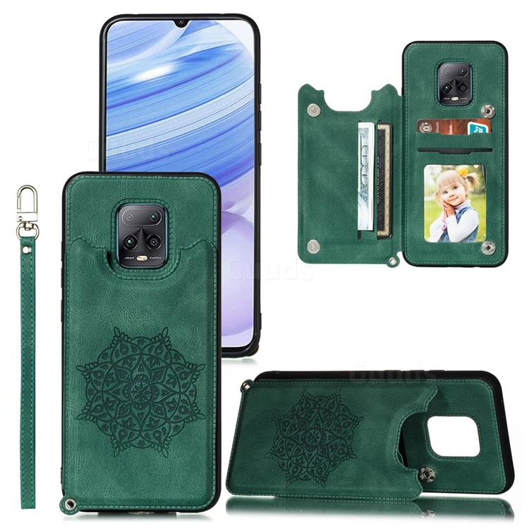 Luxury Mandala Multi-function Magnetic Card Slots Stand Leather Back Cover for Xiaomi Redmi 10X Pro 5G - Green