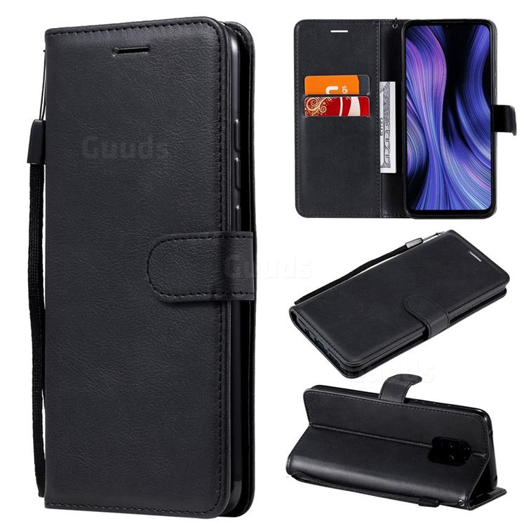 Retro Greek Classic Smooth PU Leather Wallet Phone Case for Xiaomi Redmi 10X Pro 5G - Black