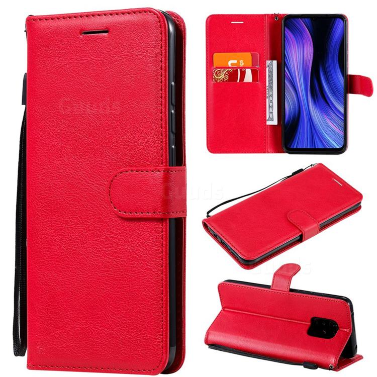 Retro Greek Classic Smooth PU Leather Wallet Phone Case for Xiaomi Redmi 10X Pro 5G - Red
