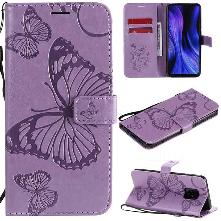 Embossing 3D Butterfly Leather Wallet Case for Xiaomi Redmi 10X Pro 5G - Purple