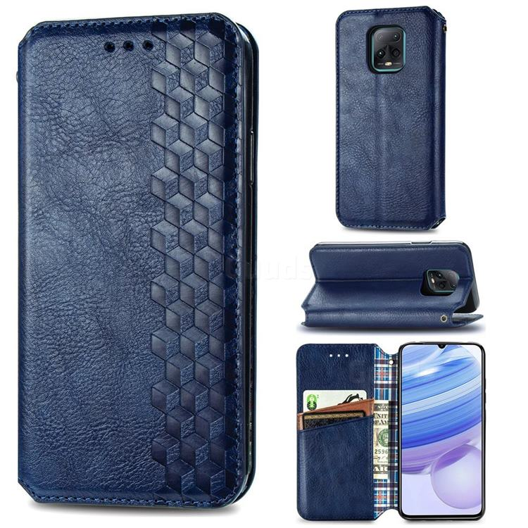 Ultra Slim Fashion Business Card Magnetic Automatic Suction Leather Flip Cover for Xiaomi Redmi 10X Pro 5G - Dark Blue