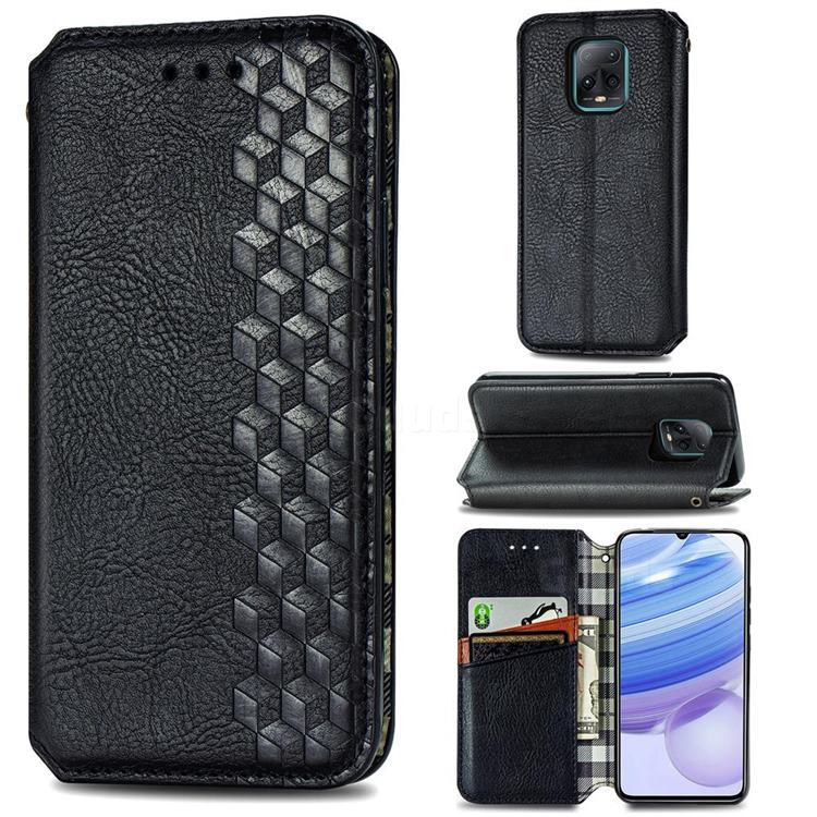 Ultra Slim Fashion Business Card Magnetic Automatic Suction Leather Flip Cover for Xiaomi Redmi 10X Pro 5G - Black