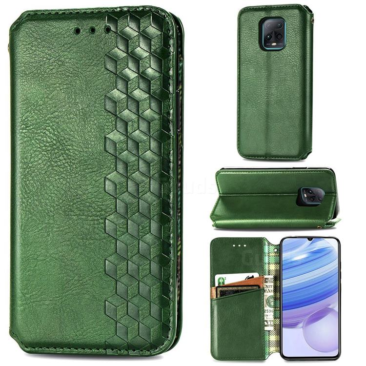 Ultra Slim Fashion Business Card Magnetic Automatic Suction Leather Flip Cover for Xiaomi Redmi 10X Pro 5G - Green