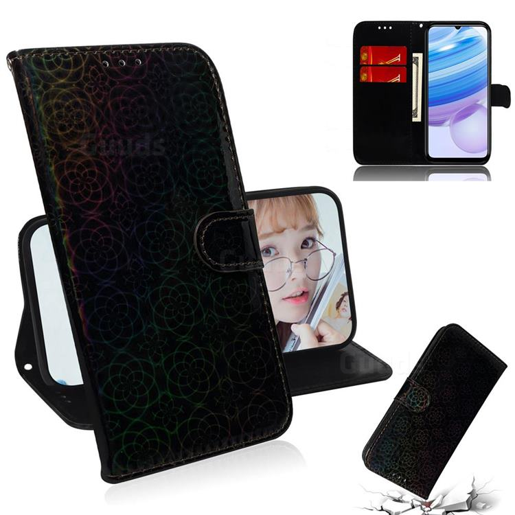Laser Circle Shining Leather Wallet Phone Case for Xiaomi Redmi 10X Pro 5G - Black
